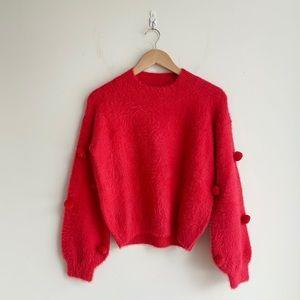 Fuzzy Puffy Sleeve Sweater